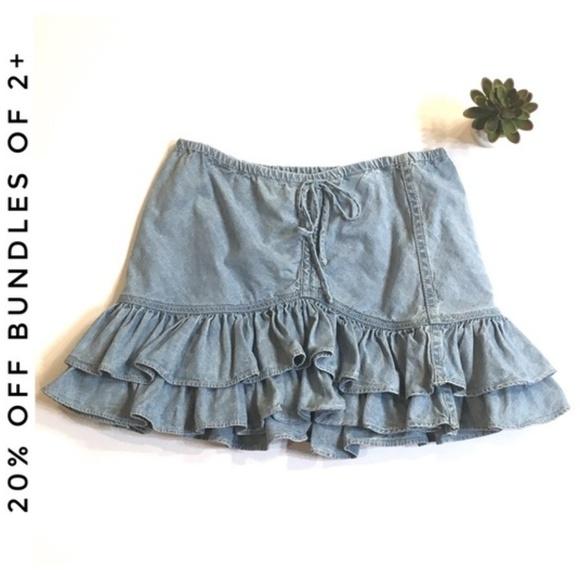 74831b57d LONDONJEAN Other - 1990's LondonJean Layered Ruffles Denim Skirt